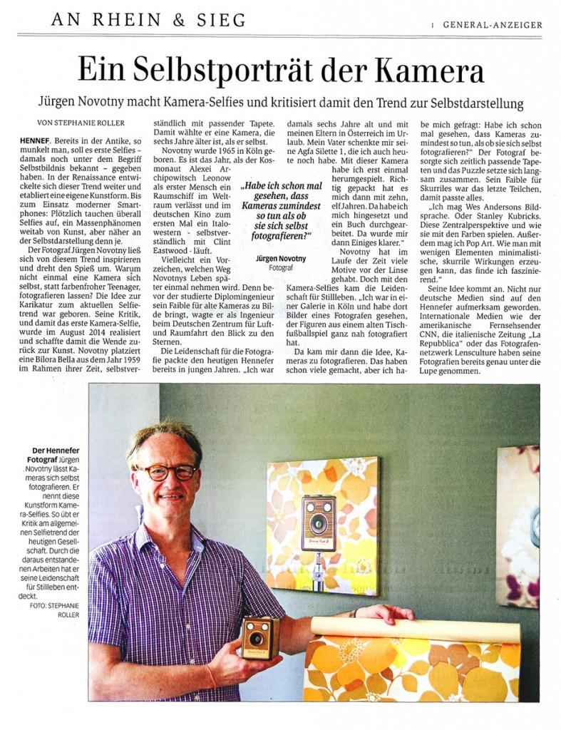Jürgen Novotny macht Kamera-Selfies und kritisiert damit den Trend zur Selbstdarstellung (General-Anzeiger)