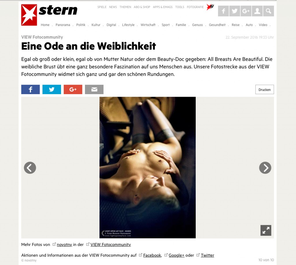Feature of J. Novotny nude photography in Stern.de
